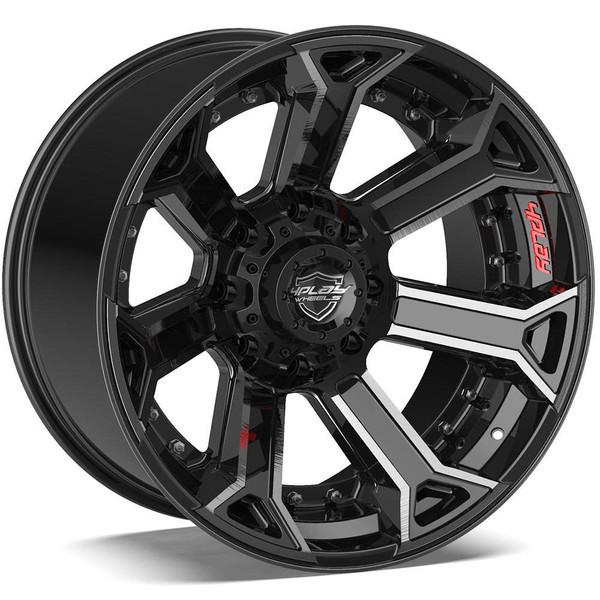 8-Lug 4Play 4P70 Wheels Machined Black Rims Fit GM-Chevy Trucks