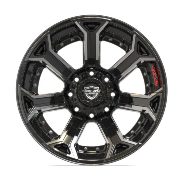 8-Lug 4Play 4P70 Wheels Machined Black Rims Fit GM-Chevy Trucks front