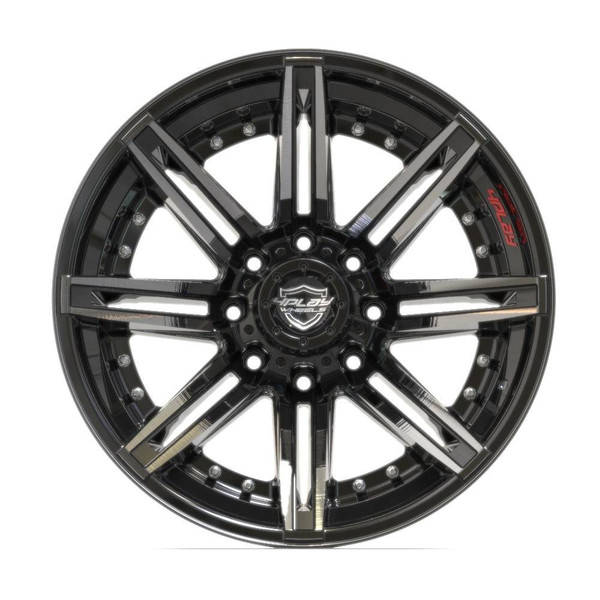 8-Lug 4Play 4P08 Wheels Machined Black Rims Fit GM-Chevy Trucks front