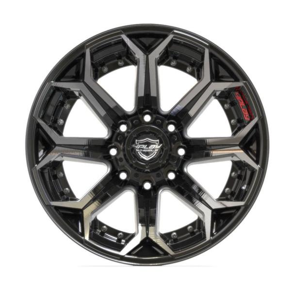 8-Lug 4Play 4P80R Wheels Machined Black Rims Fit GM-Chevy Trucks front