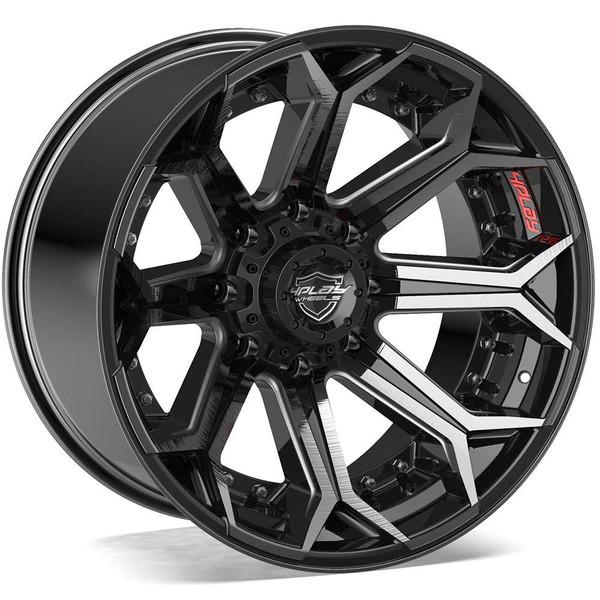 8-Lug 4Play 4P80R Wheels Machined Black Rims Fit GM-Chevy Trucks