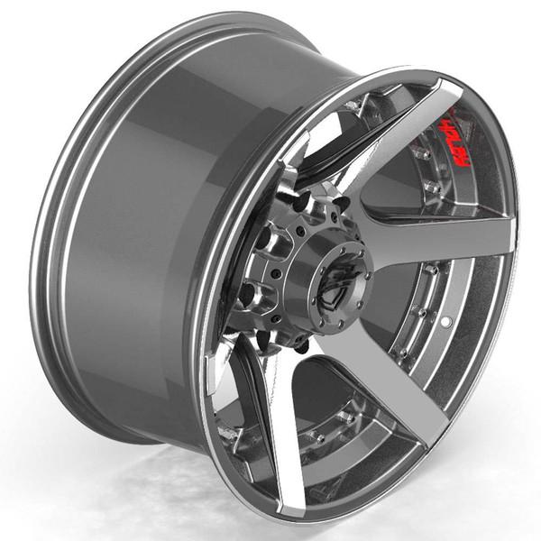 8-Lug 4Play 4P60 Gunmetal Machined Face Rims Fit GM Trucks