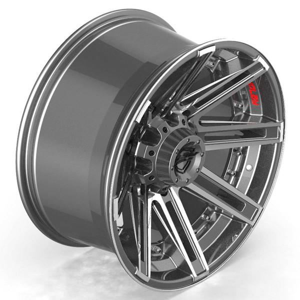8-Lug 4Play 4P08 Gunmetal Machined Face Rims Fit GM-Chevy Trucks