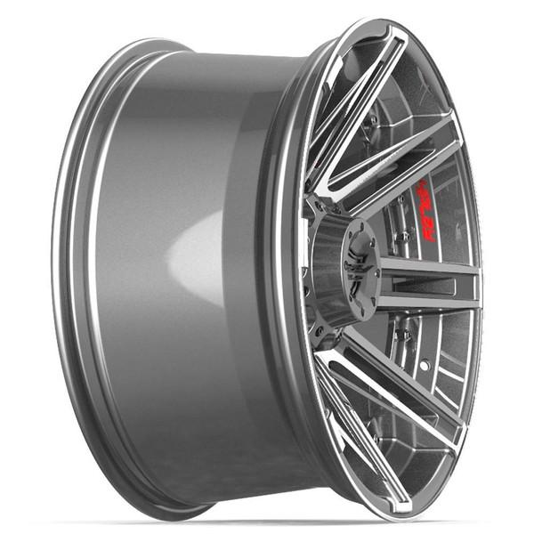 8-Lug 4Play 4P08 Wheels Machined Gunmetal Rims Fit GM-Chevy Trucks