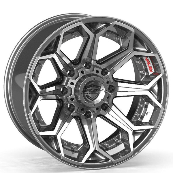 Machined Gunmetal 8-Lug 4Play 4P80R truck rims Fit Chevy-GM