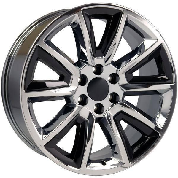 """22"""" Chevy Avalanche replica wheel 2002-2013 Chrome Black Inserts rims 9507612"""