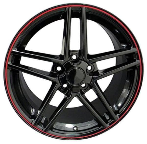 "19"" Chevy Corvette  replica wheel 2005-2013 Black Red Band rims 7387762"