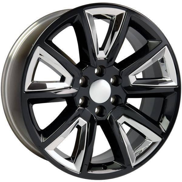 """22"""" Chevy Avalanche replica wheel 2002-2013 Black Chrome Inserts rims 9507611"""
