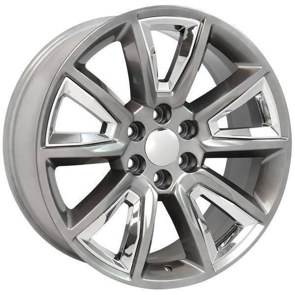 "22"" Chevy Avalanche replica wheel 2002-2013 Hyper Black Chrome Inserts rims 9507615"