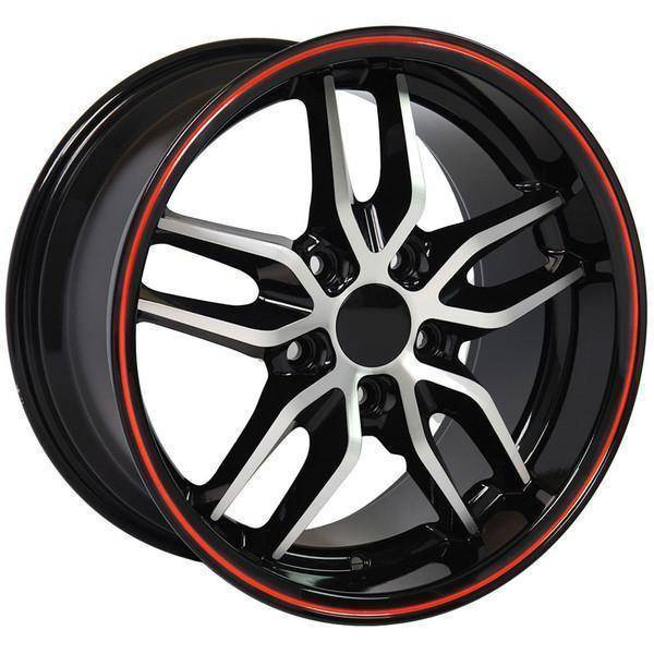 "17"" Chevy Camaro replica wheel 1993-2002 Black Machined Red rims 9506929"