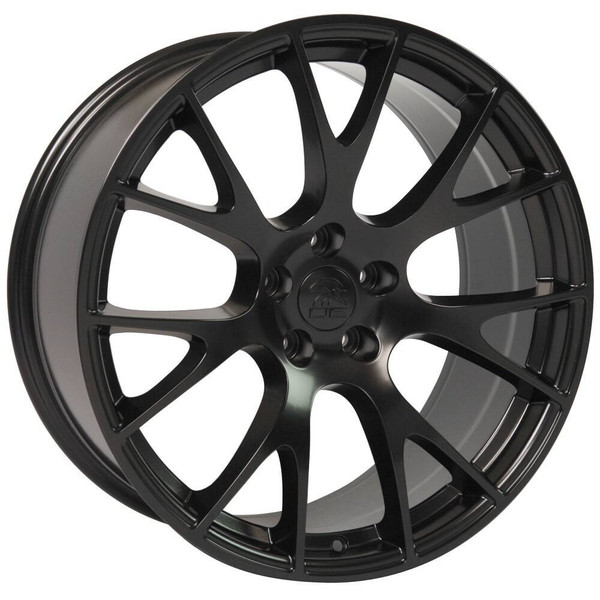 """22"""" Satin Black Hellcat replica wheel for Dodge Charger replacement rims 9507539"""