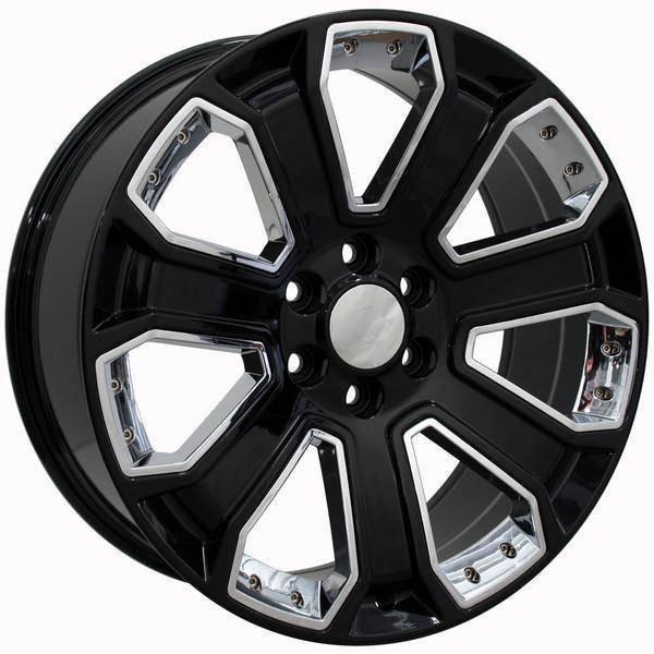 "22"" Chevy C2500 replica wheel 1988-2000 Black Chrome Inserts rims 9489927"