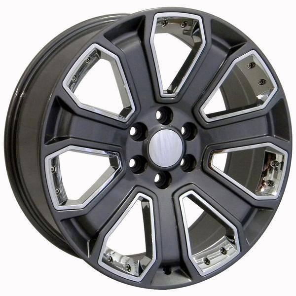 "20"" Chevy C2500 replica wheel 1988-2000 Gunmetal Chrome Inserts rims 9489924"