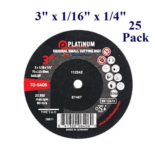"""3"""" x 1/16 x 1/4 Cutting Disc - Steel/Stainless (25 Pack)"""