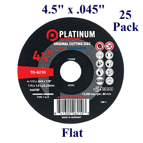 """4.5"""" x 3/64"""" x 7/8"""" - Cutting Disc - Steel/Stainless - Flat (25 Pack)"""