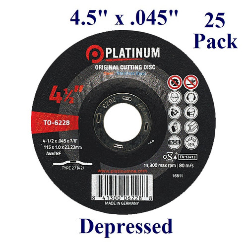 """4.5"""" x 3/64"""" x 7/8"""" - Cutting Disc - Steel/Stainless - Depressed (25 Pack)"""