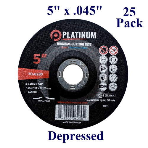 "5"" x 3/64"" x 7/8"" - Cutting Disc - Steel/Stainless - Depressed (25 Pack)"