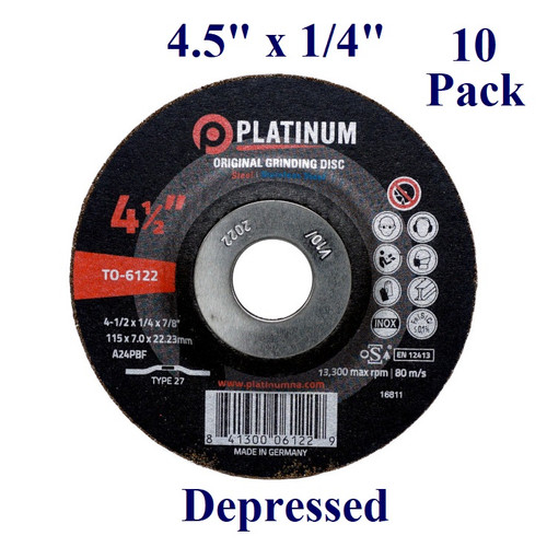 "4.5"" x 1/4"" x 7/8"" Grinding Disc - Steel/Stainless - Depressed (10 Pack)"