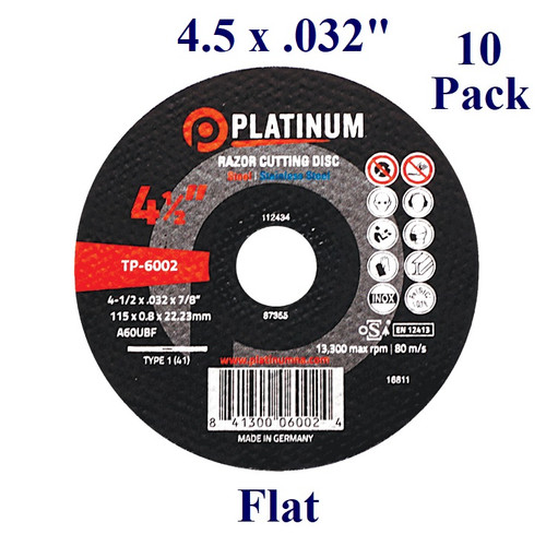 """4.5"""" x 1/32"""" x 7/8"""" - Razor Cutting Disc - Steel/Stainless -  Flat (10 Pack)"""