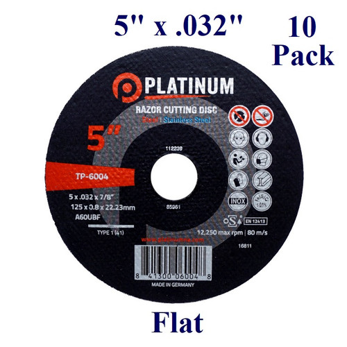 "5"" x 1/32"" x 7/8"" - Razor Cutting Disc - Steel/Stainless -  Flat (10 Pack)"