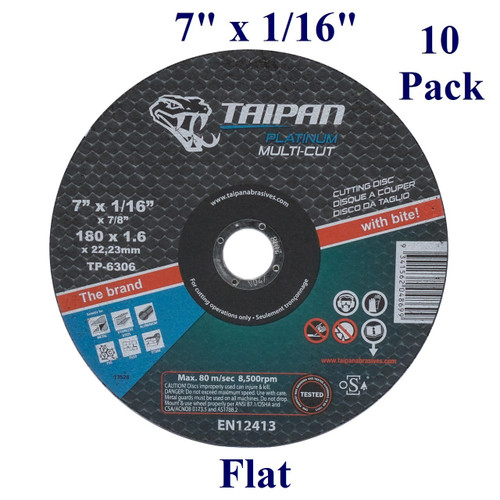 """7"""" x 1/16"""" x 7/8"""" - Platinum Cutting Disc - Multi-cut -  Flat (10 Pack)"""