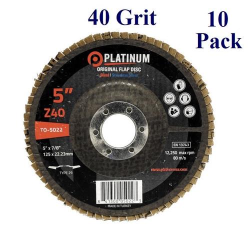 "5"" x 7/8"" - Flap Disc - Zirconia - Grit 40 (10 Pack)"
