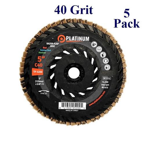 """5"""" x 5/8-11 - Threaded Razor Flap Disc - Ceramic - Grit 40 (5 Pack)"""