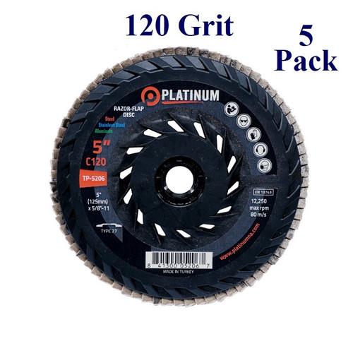 """5"""" x 5/8-11 - Threaded Razor  Flap Disc - Ceramic - Grit 120 (5 Pack)"""