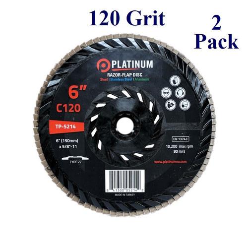 """6"""" x 5/8-11 - Threaded Razor Flap Disc - Ceramic - Grit 120 (2 Pack)"""
