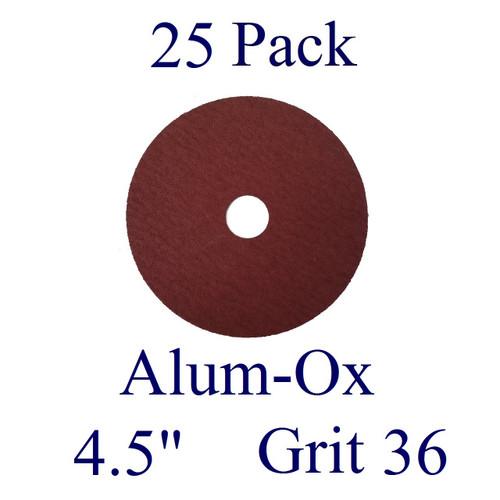 "4.5"" x 7/8"" - Fiber Disc - Aluminum Oxide - Grit 36 (25 Pack)"
