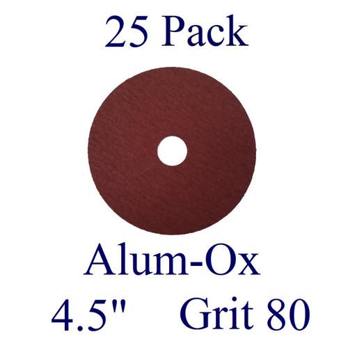 "4.5"" x 7/8"" - Fiber Disc - Aluminum Oxide - Grit 80 (25 Pack)"