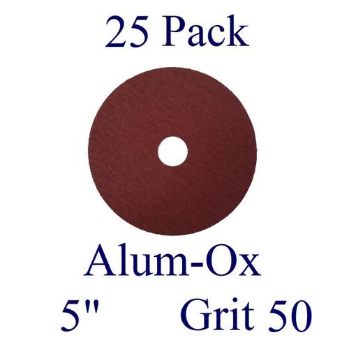 "5"" x 7/8"" - Fiber Disc - Aluminum Oxide - Grit 50 (25 Pack)"