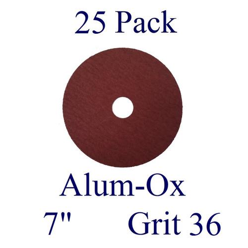 "7"" x 7/8"" - Fiber Disc - Aluminum Oxide - Grit 36 (25 Pack)"