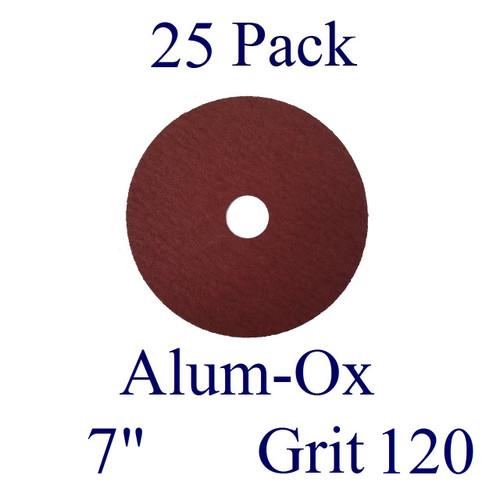 "7"" x 7/8"" - Fiber Disc - Aluminum Oxide - Grit 120 (25 Pack)"