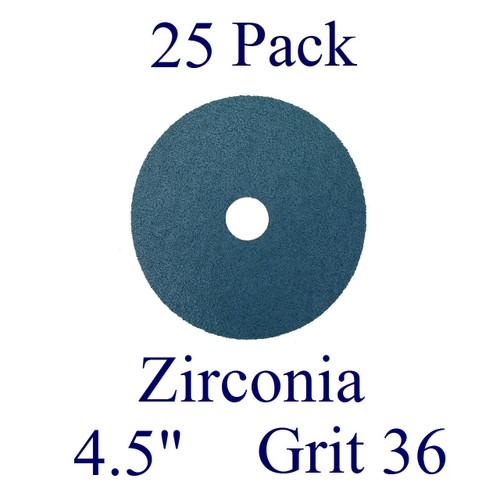 """4.5"""" x 7/8"""" - Fiber Disc - Zirconia - Grit 36 (25 Pack)"""