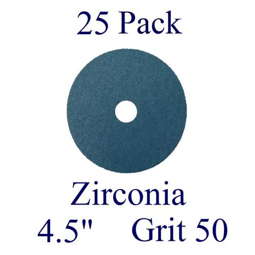 """4.5"""" x 7/8"""" - Fiber Disc - Zirconia - Grit 50 (25 Pack)"""