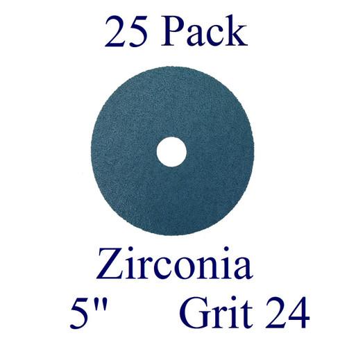 """5"""" x 7/8"""" - Fiber Disc - Zirconia - Grit 24 (25 Pack)"""