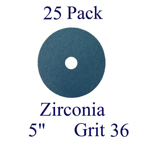 """5"""" x 7/8"""" - Fiber Disc - Zirconia - Grit 36 (25 Pack)"""