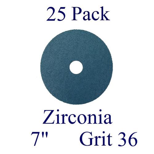 """7"""" x 7/8"""" - Fiber Disc - Zirconia - Grit 36 (25 Pack)"""