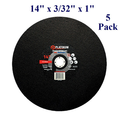 """14"""" x 3/32"""" x 1"""" - Stationary Saw Wheel - Steel and Stainless (5 Pack)"""