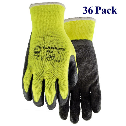Flash Lite - Crinkle Rubber Palm - Hi-vis - S-XL  (36 Pack)