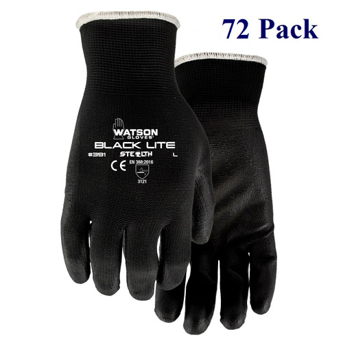 Stealth Black Lite - Polyurethane Palm - S-XL  (72 Pack)