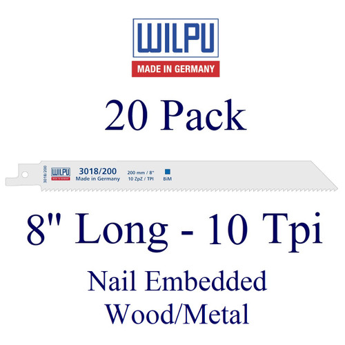 """8"""" x 10 Tpi - Wood with Nails/Metal Blade - Bi-Metal with Cobalt  (20 Pack)"""