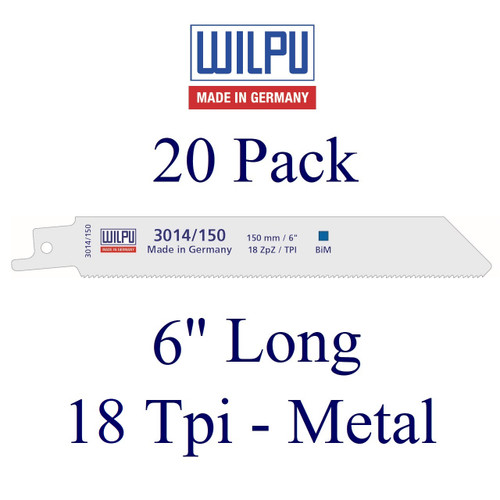 "6"" x 18 Tpi - Metal Cutting Blade - Bi-Metal with Cobalt  (20 Pack)"
