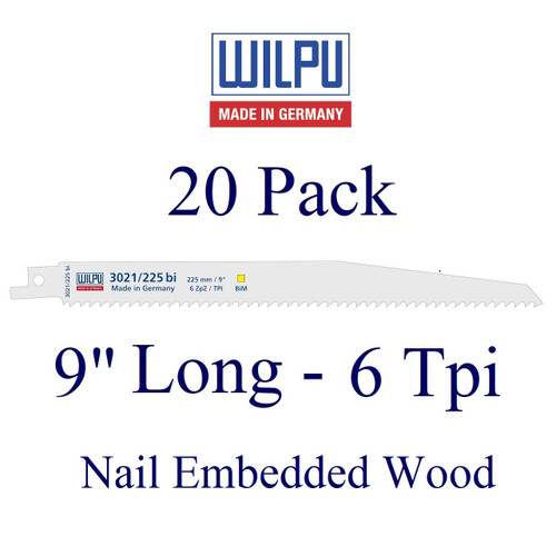 """9"""" x 6 Tpi - Wood with Nails Blade - Bi-Metal with Cobalt  (20 Pack)"""