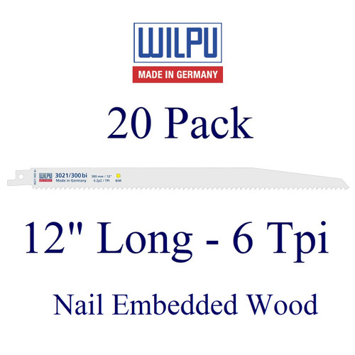 """12"""" x 6 Tpi - Wood with Nails Blade - Bi-Metal with Cobalt  (20 Pack)"""