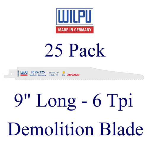 """9"""" x 6 Tpi - Demolition Blade - Bi-Metal with Cobalt  (25 Pack)"""