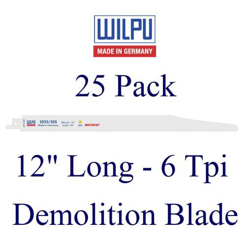 """12"""" x 6 Tpi - Demolition Blade - Bi-Metal with Cobalt  (25 Pack)"""