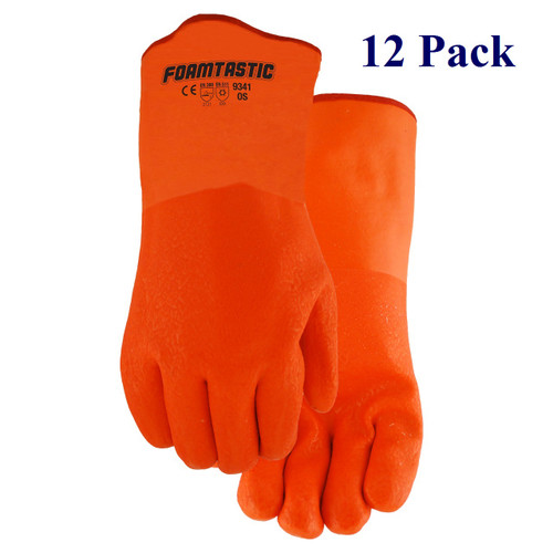 """Foamtastic - Double Dipped PVC - 12"""" Cuff - Insulated - Hi-Vis - Lg  (12 Pack)"""