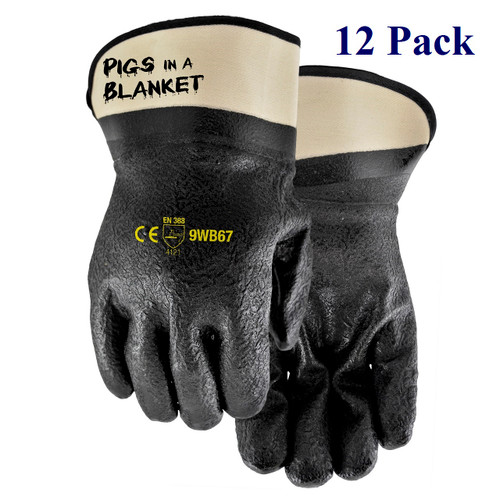 Pigs in a Blanket - Double Dipped Nitrile/PVC Blend - Insulated - Lg  (12 Pack)